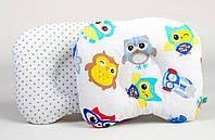 """Ортопедическая подушка для новорожденных для голов 22х26 см, """"Совы в наушниках и серый горошек"""", фото 1"""
