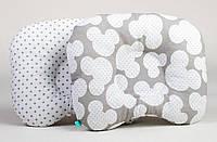 """Ортопедические подушки для новорожденных 22 х 26 см, """"Микки и серый горошек"""", фото 1"""