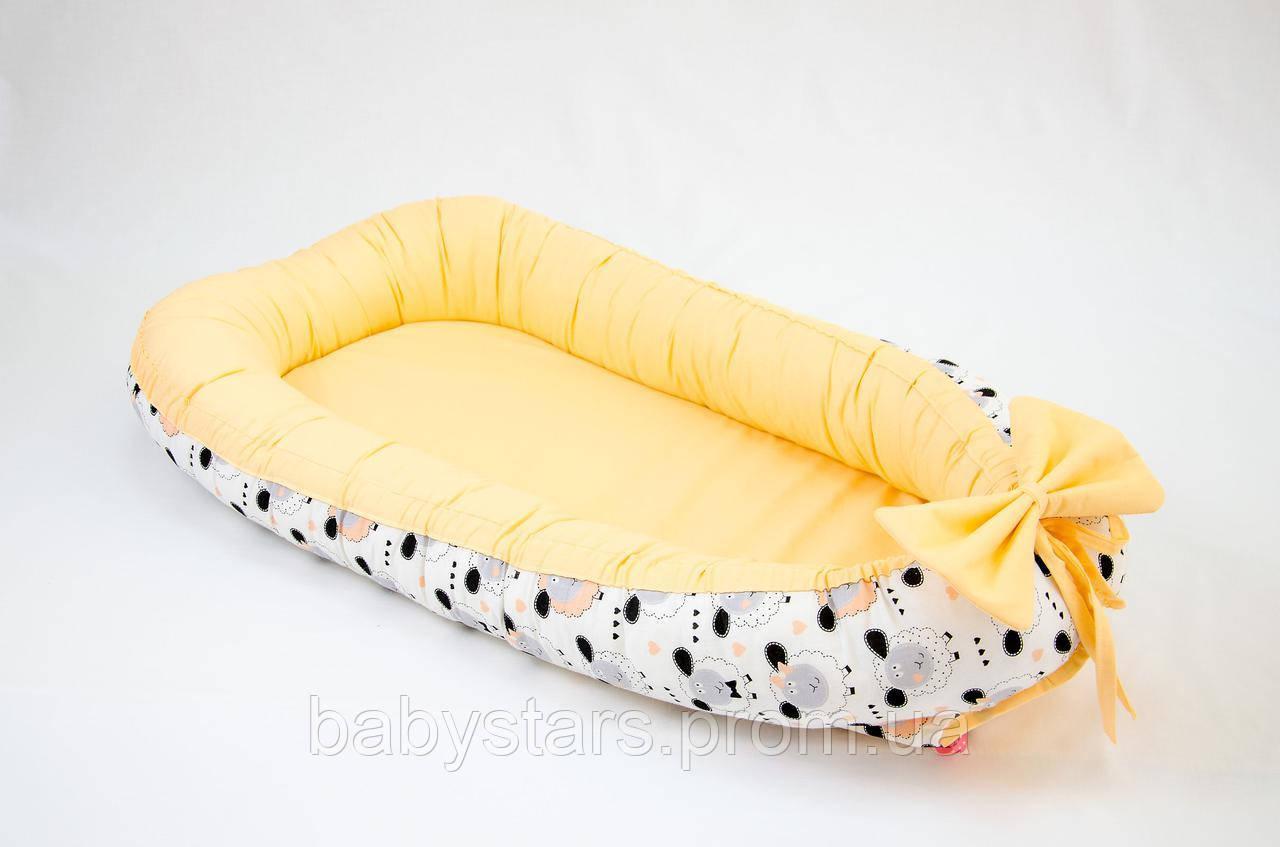 Babynest гнездышко с непромокаемым матрасом 50Х80см, Персиковые барашки