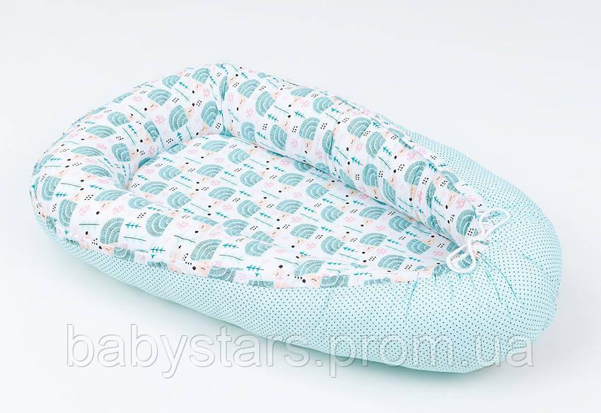 Кокон гнездышко для малышей с непромокаемым матрасом 50Х80см, Ежики на мяте