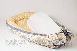 Гнездышко для малыша с непромокаемым матрасом 50Х80см, Совушки на бежевом фоне