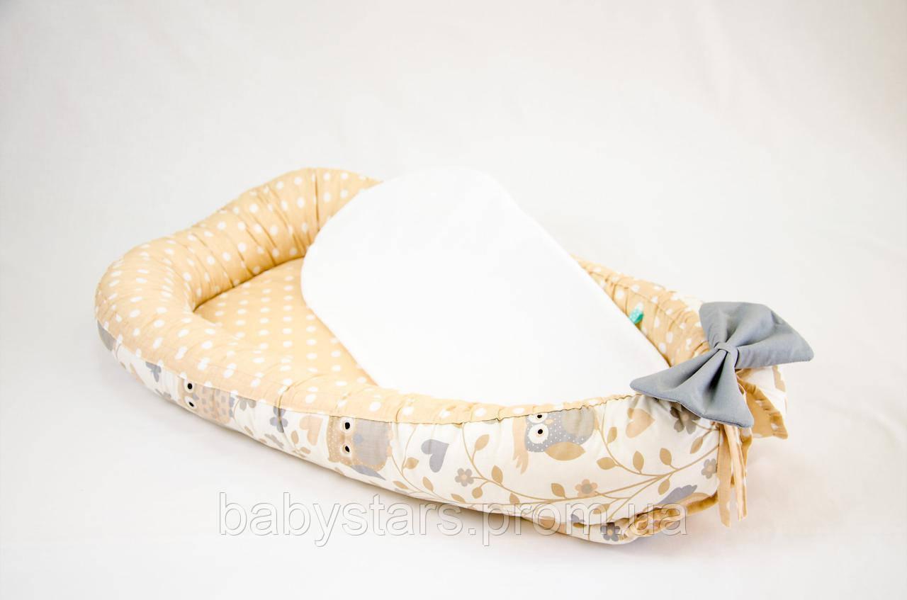 Кокон гнездышко для новорожденных с непромокаемым матрасом 50Х80см, Совушки на бежевом фоне №1