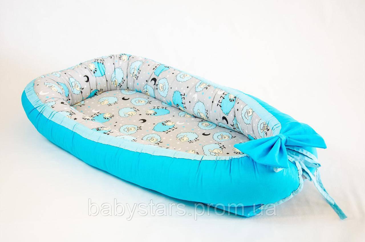 Гнездышко для детей с непромокаемым матрасом 50Х80см, Барашки бирюзовые