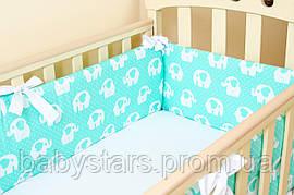 """Бортики в кроватку для новорожденных мальчиков"""" Мятные слоники"""" 360см х 27см"""