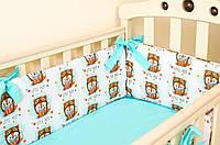 """Бортики подушки в кроватку для новорожденных """"Лисенок пилот"""" 360см х 27см"""