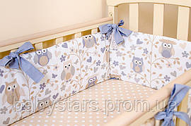 """Бортики для кроватки новорожденных """"Совушки на ветках"""" 360см х 26см цвет бежевый"""