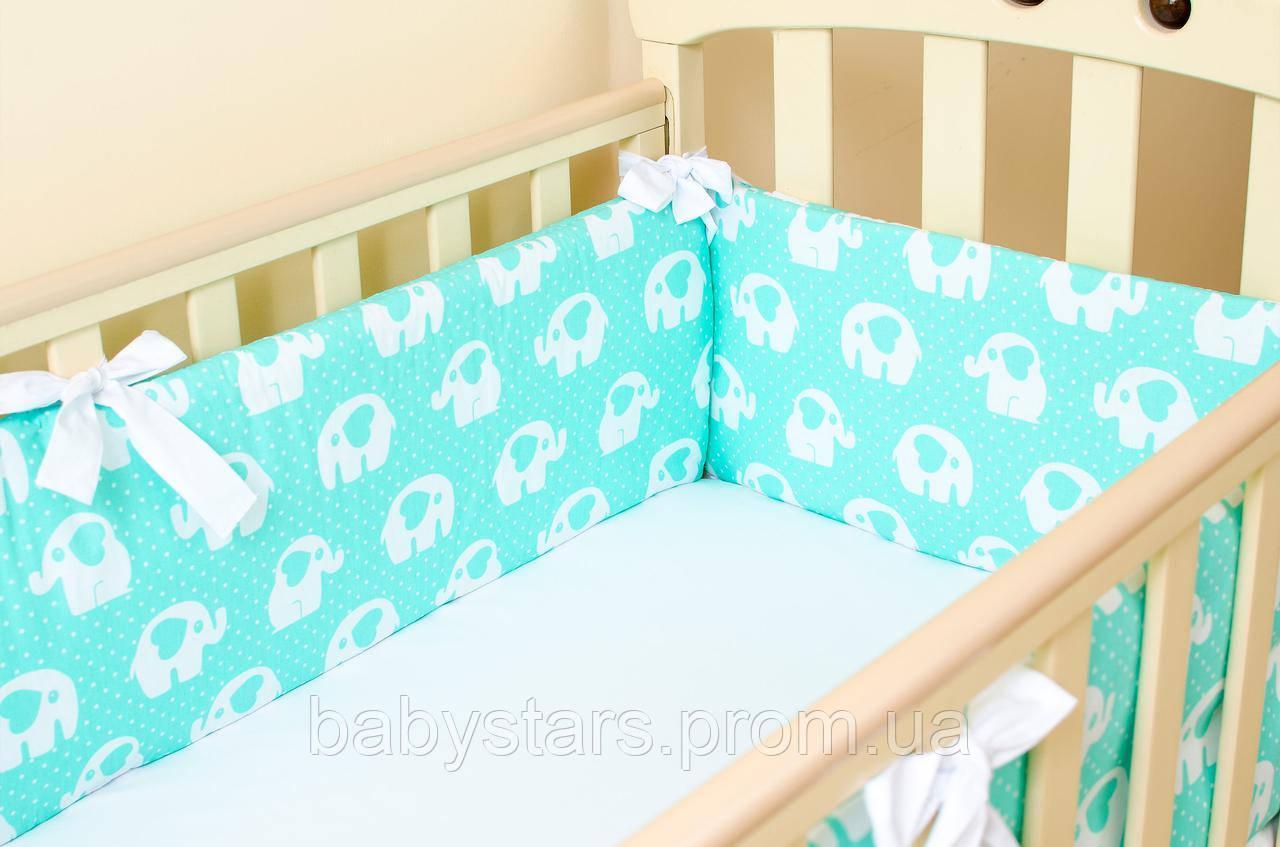 """Комплект бортиков в детскую кроватку """"Мятные слоники"""" 360 х 27 см + простынь на резинке 60 х 120 см"""
