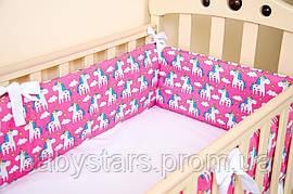 """Мягкие бортики в детскую кроватку """"Пони Пинк"""" 360см х 27см + простынь на резинке 60см х 120см"""