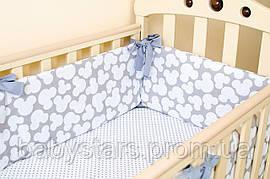 """Красивые бортики в детскую кроватку """"Серый Мики"""" 360х27см + простынь на резинке 60х120см"""