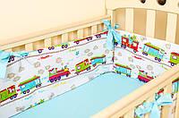 """Подушечки бортики в детскую кроватку """"Зверята в поезде"""" 360х27см + простынь на резинке 60х120см, фото 1"""