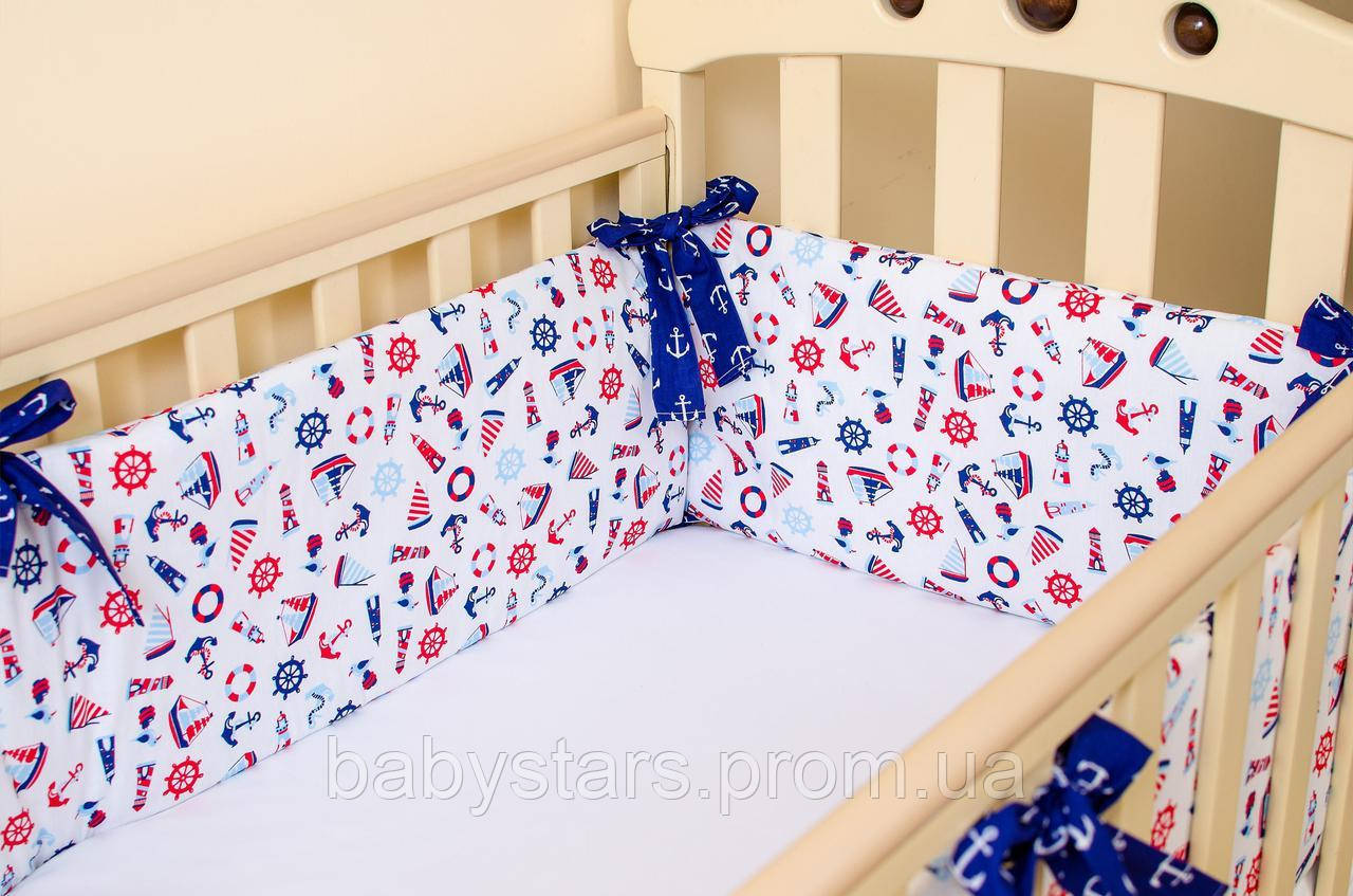 """Бортики на кровать для новорожденных """"Морячок"""" 360см х 27см + простынь на резинке 60см х 120см"""