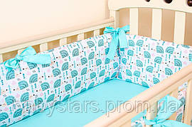 """Подушки бортики в детскую кроватку """"Мятные ежики"""" 360см х 27см + простынь на резинке 60см х 120см"""