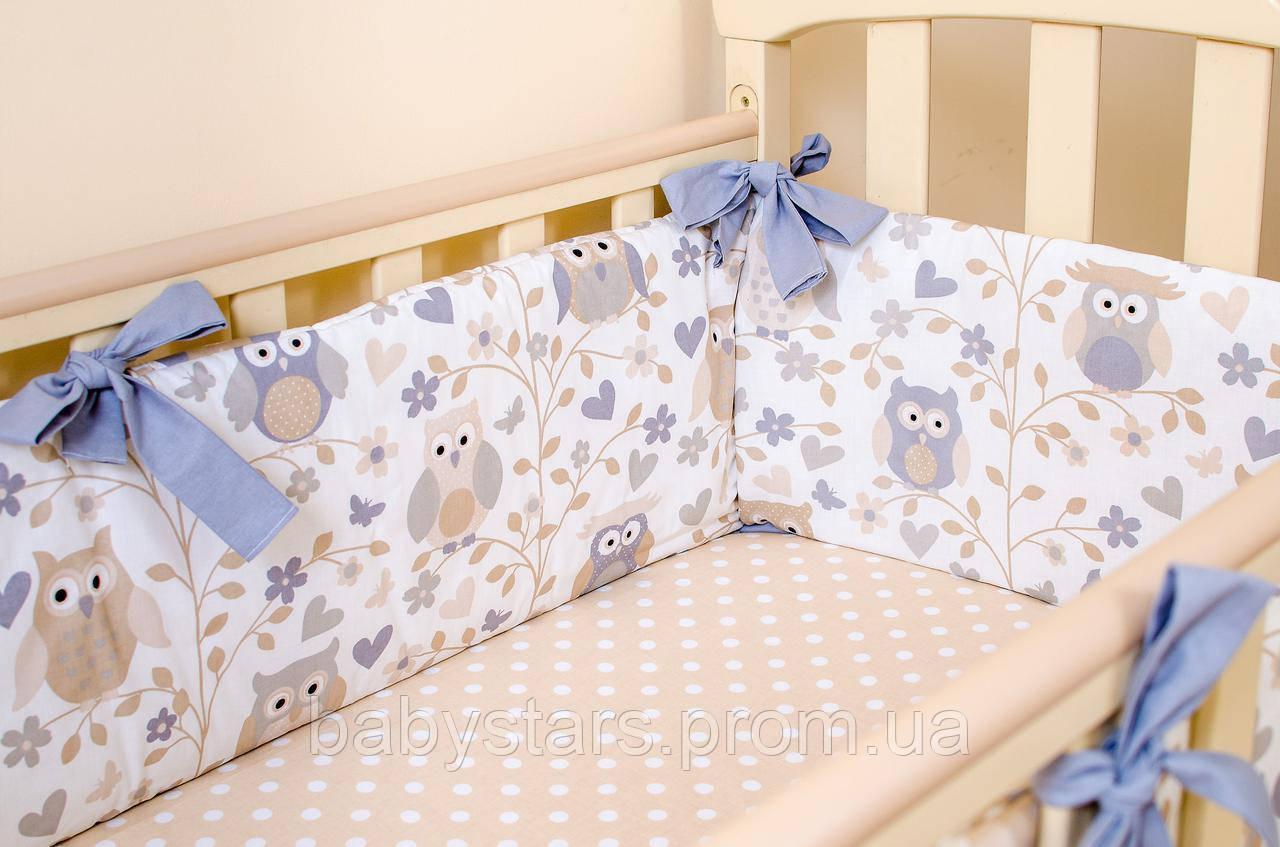 """подушки бортики в детскую кровать """"Совушки на ветке"""" 360х27см + простынь на резинке 60х120см"""