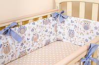 """подушки бортики в детскую кровать """"Совушки на ветке"""" 360х27см + простынь на резинке 60х120см, фото 1"""