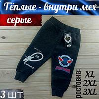 Детские штаны зимние тёплые на меху серые МАКС (ростовка 3 размера длинна: 40см/45см/50см)  ЛДЗ-11244
