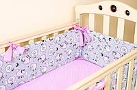 """Бортики подушки на детскую кроватку """"Розовые барашки"""" 360х27см + простынь на резинке 60х120см, фото 1"""