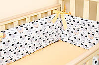 """Бортик для кроватки малыша """"Персиковые барашки"""" 360х27см + простынь на резинке 60х120см, фото 1"""