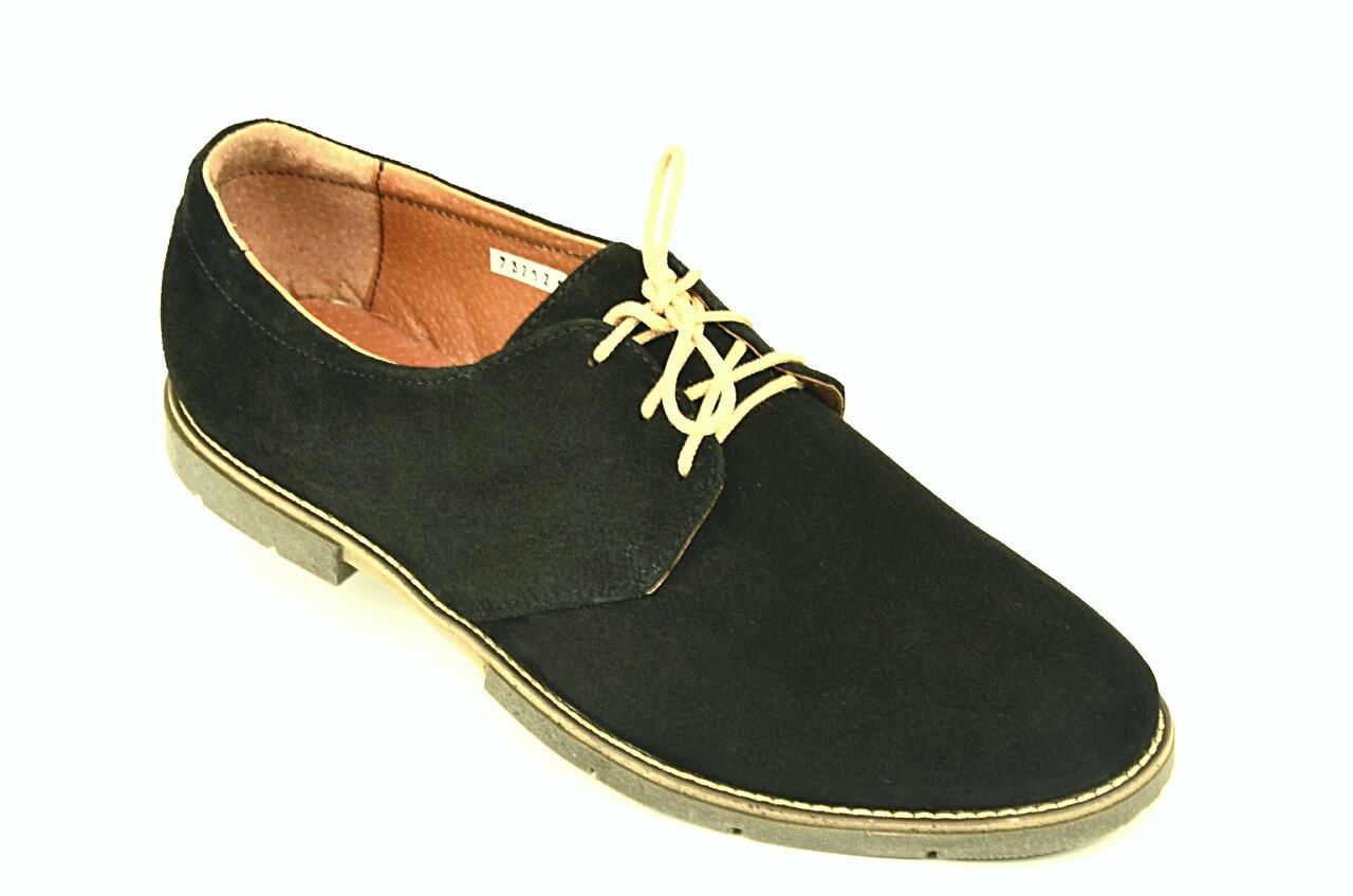 Туфлі чоловічі замшеві чорні шнурівка 732021