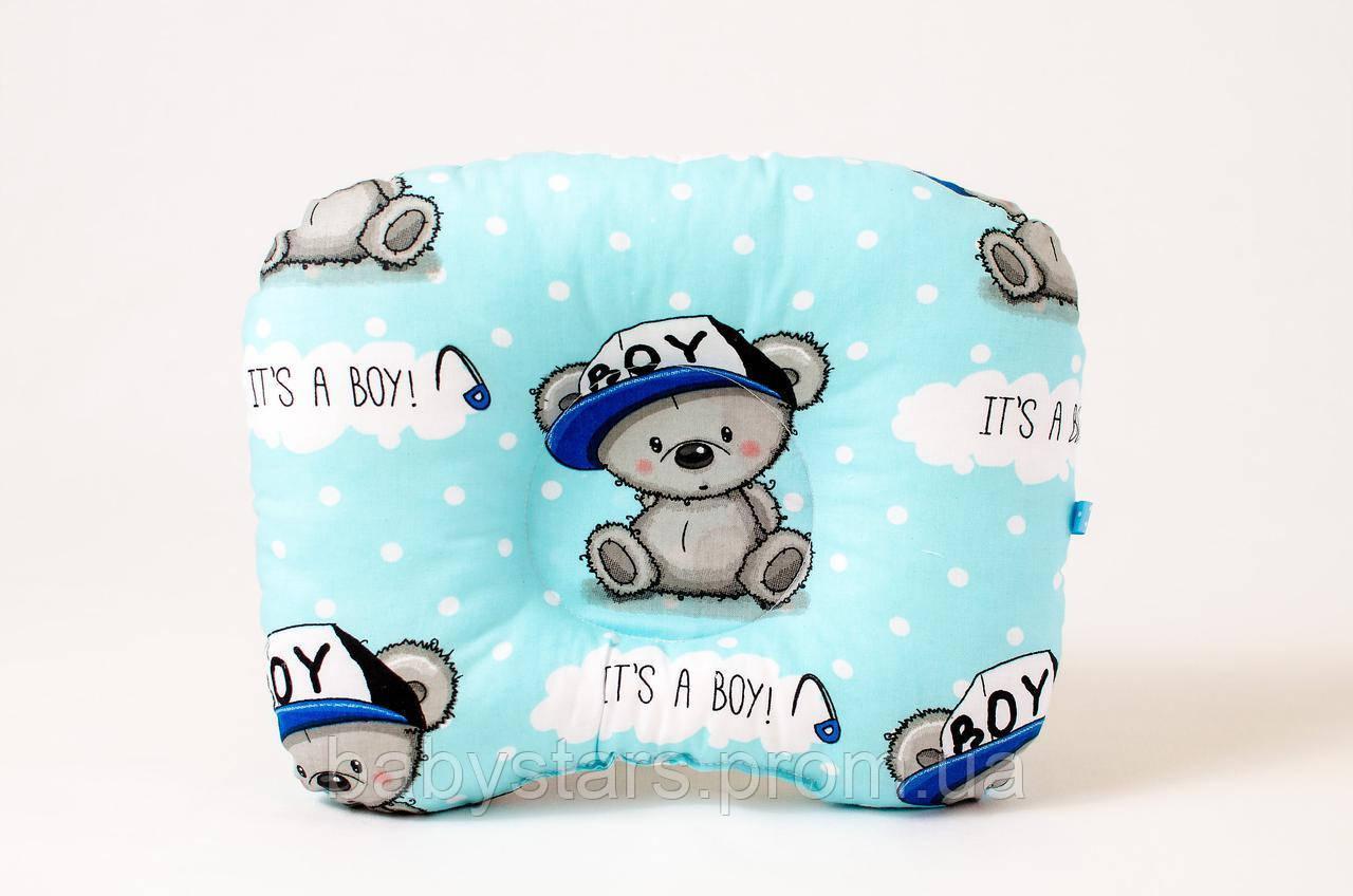 """Анатомическая подушка для новорожденного 22х26 см, """"Мишутка в кепке"""""""