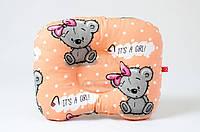 """Детская ортопедическая подушка для новорожденных 22х26 см, """"Мишутка с бантом"""""""