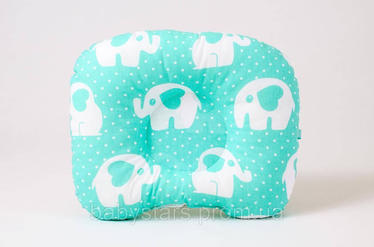 """Подушка позиционер для новорожденных 22х26 см, """"Мятные слоники"""""""