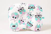 """Детская ортопедическая подушка для новорожденных 22х26 см, """"Розовые совушки в очках"""""""