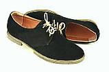 Туфлі чоловічі замшеві чорні шнурівка 732021, фото 2