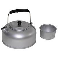 Чайник 0,95л алюминиевый с чайным ситечком Fox Outdoor серого цвета