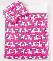 """Летний комплект в коляску """"Розовые пони"""": одеяло 65х75см подушка 22х26см, фото 1"""