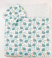 """Летний комплект в коляску """"Мятные ежики"""": одеяло 65х75см подушка 22х26см"""