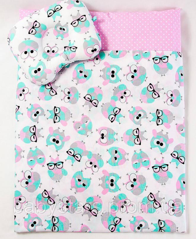 "Летний комплект в коляску ""Розовые совушки в очках"": одеяло 65х75см подушка 22х26см"