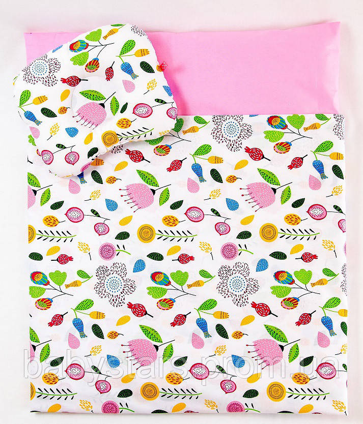 "Детские подушки в коляску с одеялом, комплект ""Розовый сад"", одеяло 65х75см подушка 22х26см"