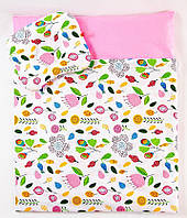 "Детские подушки в коляску с одеялом, комплект ""Розовый сад"", одеяло 65х75см подушка 22х26см, фото 1"