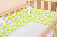 """Бортики в кроватку для новорожденных 360см х 27см, """"Салатовый Микки"""""""