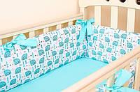 """Красивые бортики в кроватку для новорожденных 360х27см """"Мятные ежики"""" + простынь на резинке 60х120см"""