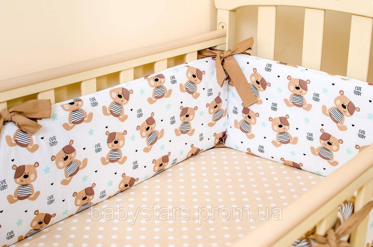 """Красивые бортики в детскую кроватку 360х27 см """"Мишки Тедди"""" + простынь на резинке 60х120 см"""