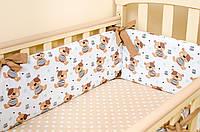 """Красивые бортики в детскую кроватку 360х27 см """"Мишки Тедди"""" + простынь на резинке 60х120 см, фото 1"""