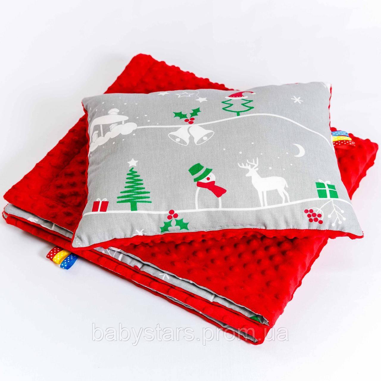 """Комплект детский """"Рождественская сказка"""" одеяло 75 х 85 см подушка 30 х 40 см Серый"""