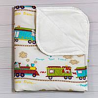 Пеленки непромокашки для детей (размер 70х80 см), Зверята в поезде