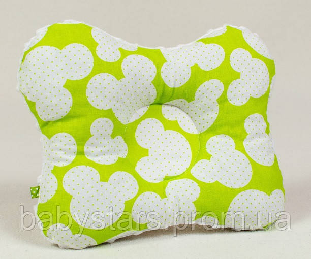"""Подушки в кроватку для новорожденных 22х26 см, """"Яркий Микки №1"""" цвет салатовый"""