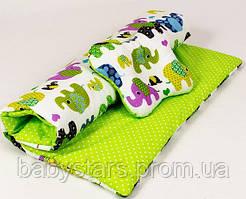 """Комплект в коляску для новорожденного """"Слоники на салатовом"""", одеяло 65х75см подушка 22х26см"""