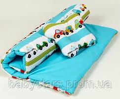 "Летний комплект в коляску ""Машинки"": одеяло 65х75см подушка 22х26см бирюзовый"
