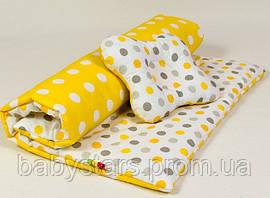 "Летний комплект в коляску ""Солнышко"": одеяло 65х75см подушка 22х26см желтый"
