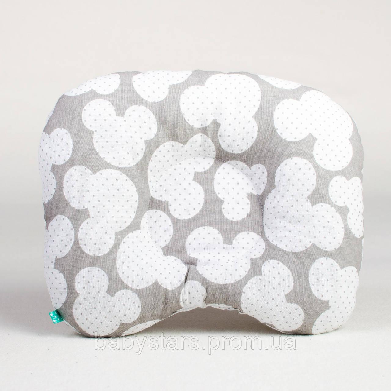 """Подушка бабочка для новорожденного 22х26 см, """"Микки"""" цвет серый"""