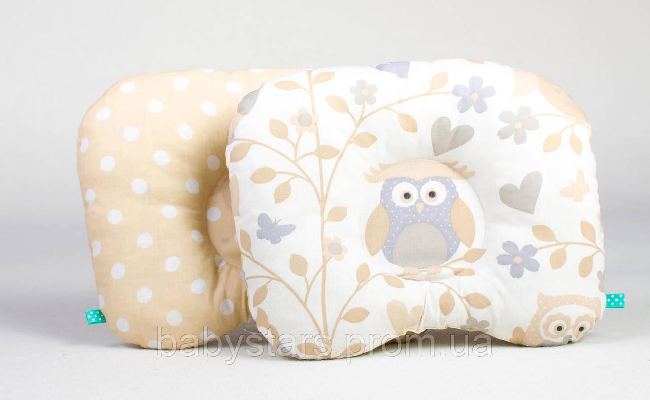 """Детская ортопедическая подушка для новорожденных 22х26 см, """"Совунья и бежевый горошек"""""""