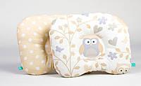"""Детская ортопедическая подушка для новорожденных 22х26 см, """"Совунья и бежевый горошек"""", фото 1"""