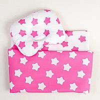 """Летний комплект в коляску """"Малиновые звезды"""": одеяло 65х75см подушка 22х26см, фото 1"""