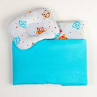 """Комплекты в коляску для новорожденных """"Совы на бирюзе"""": одеяло 65х75см подушка 22х26см"""