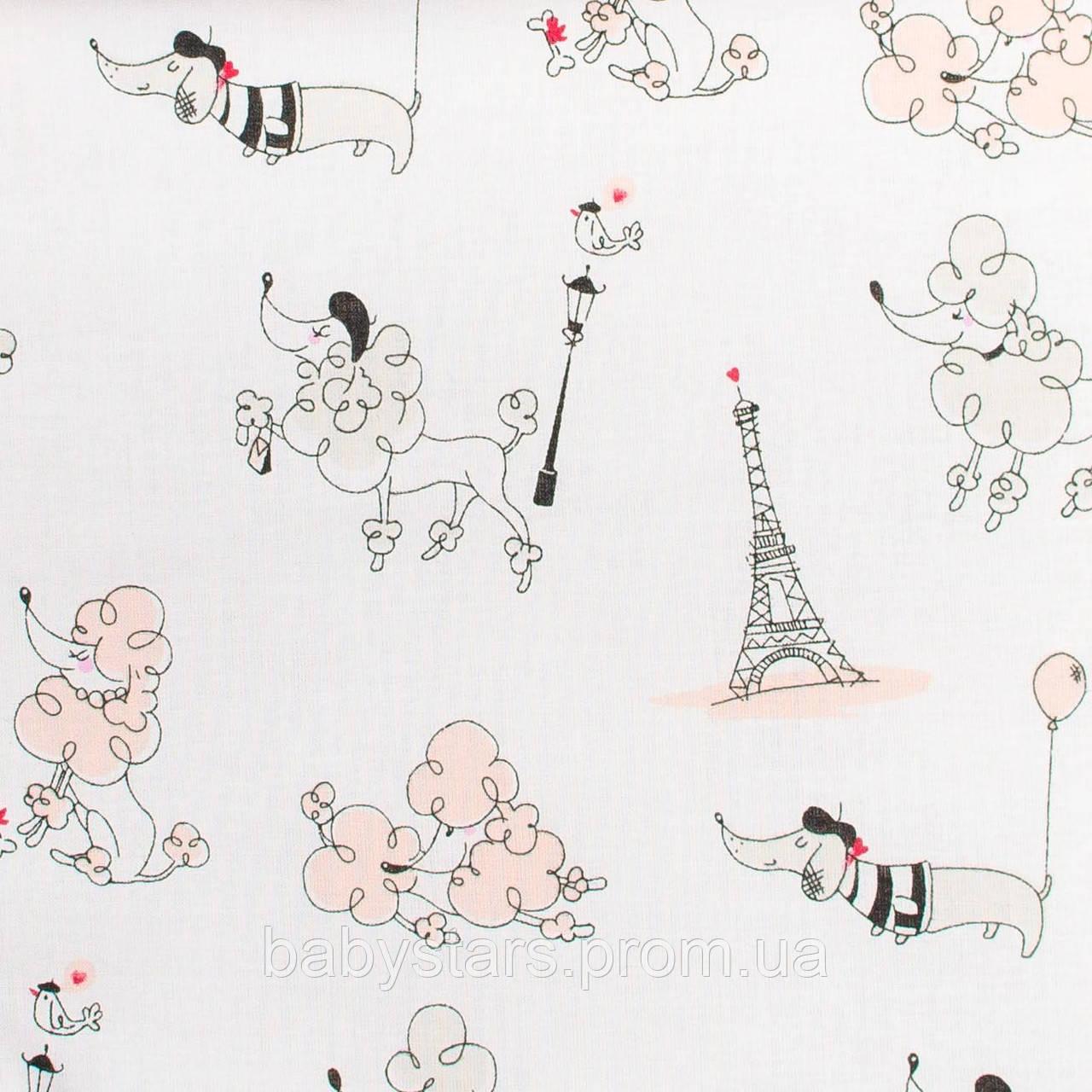 Простынь на резинке в детскую коляску, хлопок Париж пудра 80х40см