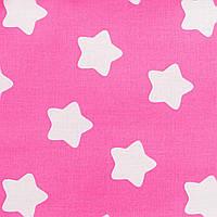 Простынь на резинке в детскую коляску, хлопок Звезды на розовом 80х40см